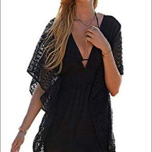 VICTORIAS SECRET Black Plunge Crochet Coverup